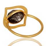 Art Deco 18K Gold Plated Sterling Silver Black Rutile Designer Ring - Sumana
