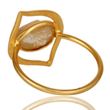 Art Deco 18K Gold Plated Sterling Silver Yellow Rutile Designer Ring - Sumana