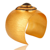 22K Gold Plated Textured Cuff with Smokey Quartz - Sumana