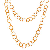 "22K Yellow Gold Plated Handmade Twisted Wire Circle Link Chain Necklace 50"" Inch - Sumana"