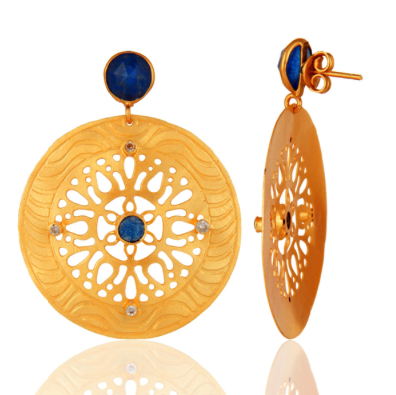 Blue Aventurine & Cubic Zirconia 18K Yellow Gold Plated Handmade Design Earrings - Sumana