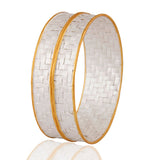 Set of 22K Gold Plated Sterling Silver Woven Bangle Bracelet