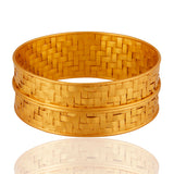 24K Gold Plated Sterling Silver Wrapped Bangle Bracelet - Sumana