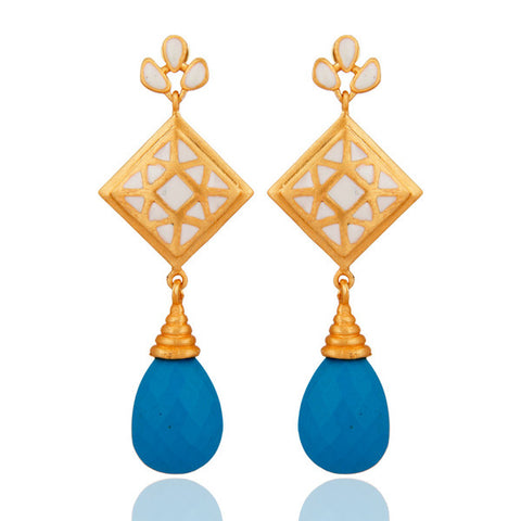 18K Yellow Gold Vermeil Turquoise And White Enamel Dangle Earrings - Sumana
