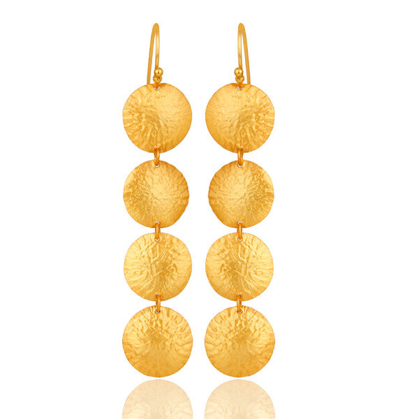18K Gold Plated Sterling Silver Hammered Disc Earring Dangle Earrings - Sumana
