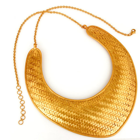 24k Gold Plated Brass Woven Necklace - Sumana