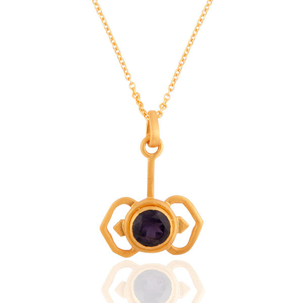 "24k Yellow Gold Vermeil Sterling Silver Pendant With 16"" Chain & Natural Iolite Stone - Sumana"