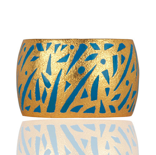 Enamel Hand-Painted Cuff Bangle in 24k Gold Vermeil Jewelry - Sumana