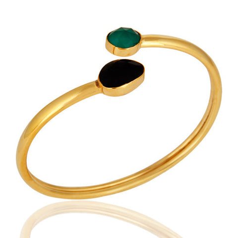 Green Onyx And Black Onyx Handmade Adjustable Bangle - Shiny 18K Gold Plated - Sumana