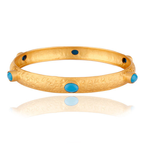 Handmade Designer Bangle Hammered 24k Yellow Gold Turquoise Gemstone Bracelets - Sumana
