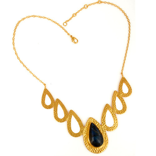Handmade Labradorite Gemstone 24K Yellow Gold Vermeil Hammered Necklace - Sumana