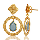 Handmade Traditional Sterling Silver Earrings with 18k Gold Plated & Chalcedony - Sumana
