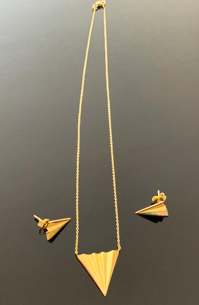 18K Gold Plated Sterling Silver Triangle Pendant with Earring set