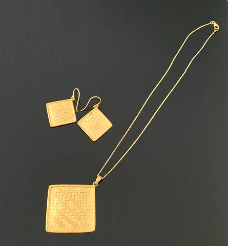 18K Gold Plated Solid 925 Sterling Silver Woven Artisan Pendant with Dangling Earring Set