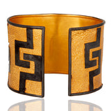 """Tribal"" 925 Sterling Silver Gold Vermeil Finish Hammered Wide Cuff Bracelet"
