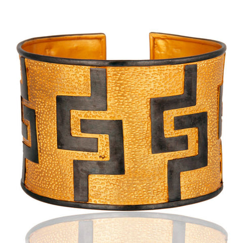 """Tribal"" 925 Sterling Silver Gold Vermeil Finish Hammered Wide Cuff Bracelet - Sumana"
