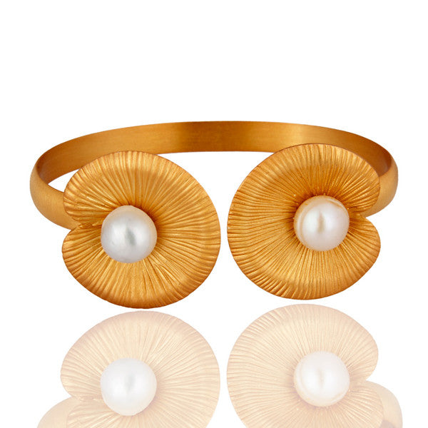 24K Gold Plated Sterling Silver White Pearl Lotus Cuff - Sumana