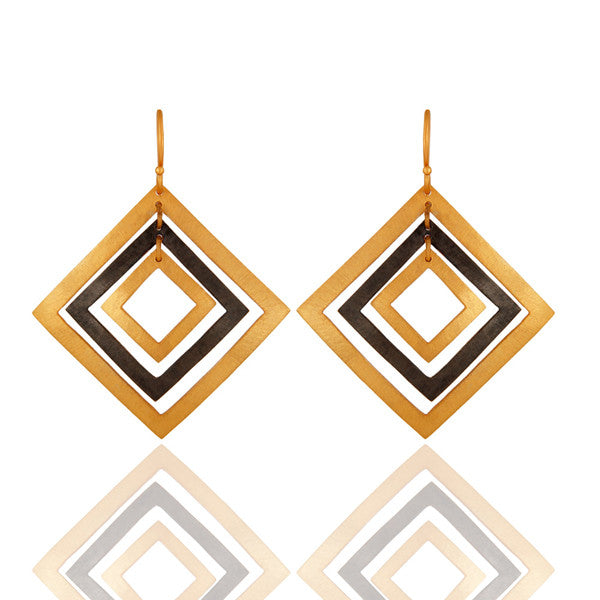 Handcrafted 925 Sterling Silver Earrings - 24K Gold Vermeil - Sumana