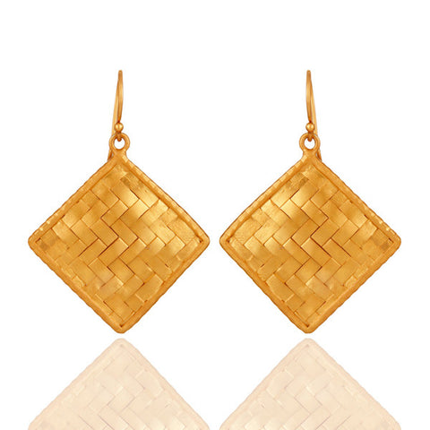 24K Gold Plated Sterling Silver Matte Finished Woven Earrings - Sumana