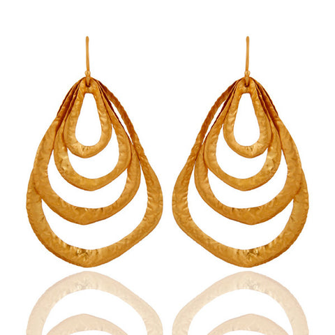 18K Gold Plated Sterling Silver Matte Finish Handcrafted Dangle Earrings - Sumana