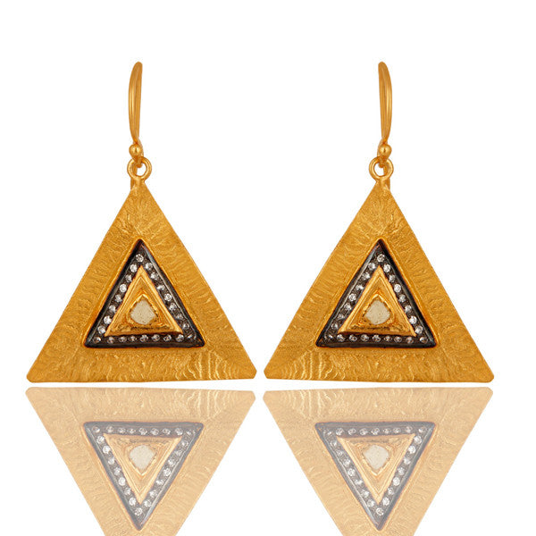 Handmade Sterling Silver Textured Gold Vermeil Earrings - Sumana