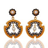 HANDMADE  NATURAL PEARL GOLD PLATED OVER STERLING SILVER EARRINGS - Sumana