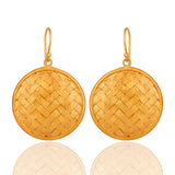 Handmade 22K Yellow Gold Vermeil On Sterling Silver Wire Weave Designer Earrings - Sumana