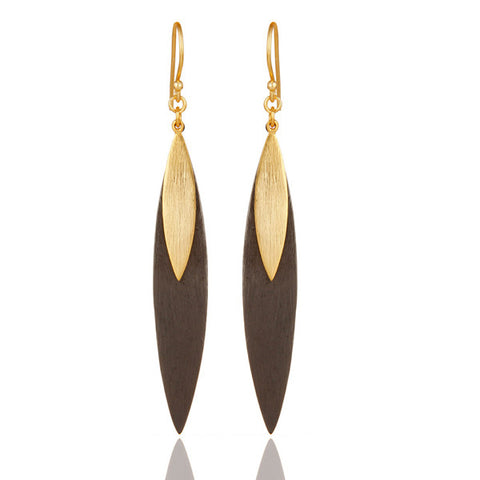 18k Gold Plated Sterling Silver Handmade Simple Design Dangle Earrings - Sumana