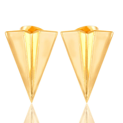 14K Gold Plated 925 Sterling Silver Triangle Stud Earrings