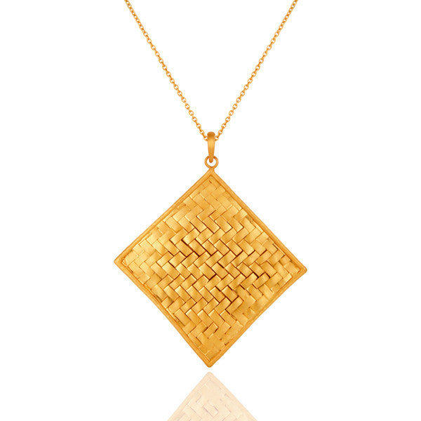 18K Gold Plated Solid 925 Sterling Silver Woven Artisan Pendant - Sumana