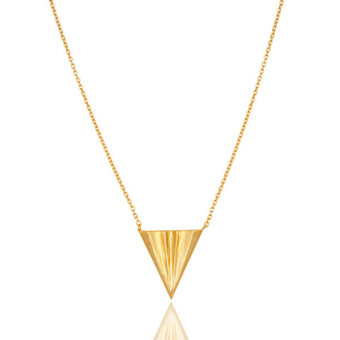 14K Gold Vermeil Sterling Silver Triangle Pendant with Chain