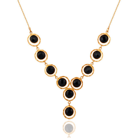 Handmade Gold Vermeil 925 Sterling Silver Onyx Necklace - Sumana