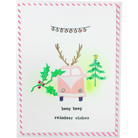 Handmade Christmas Card - Reindeer Wishes