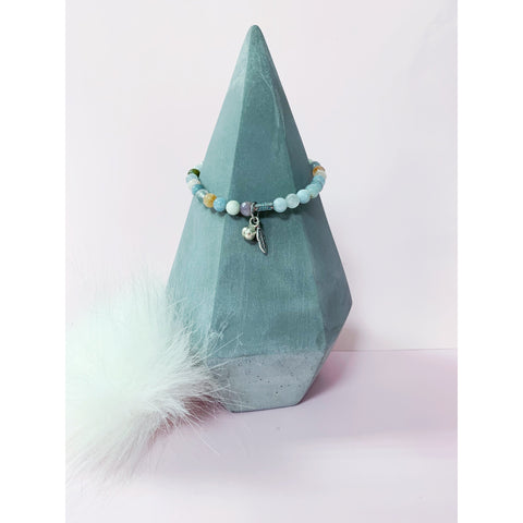 Amazonite Gemstone Bracelet with Bell Charm
