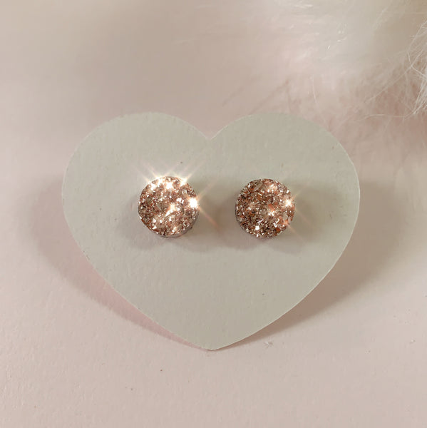 Rose Gold Druzy Stainless Steel Stud Earrings