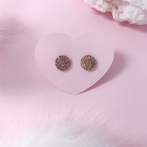 Rose Gold Stainless Druzy Stud Earrings