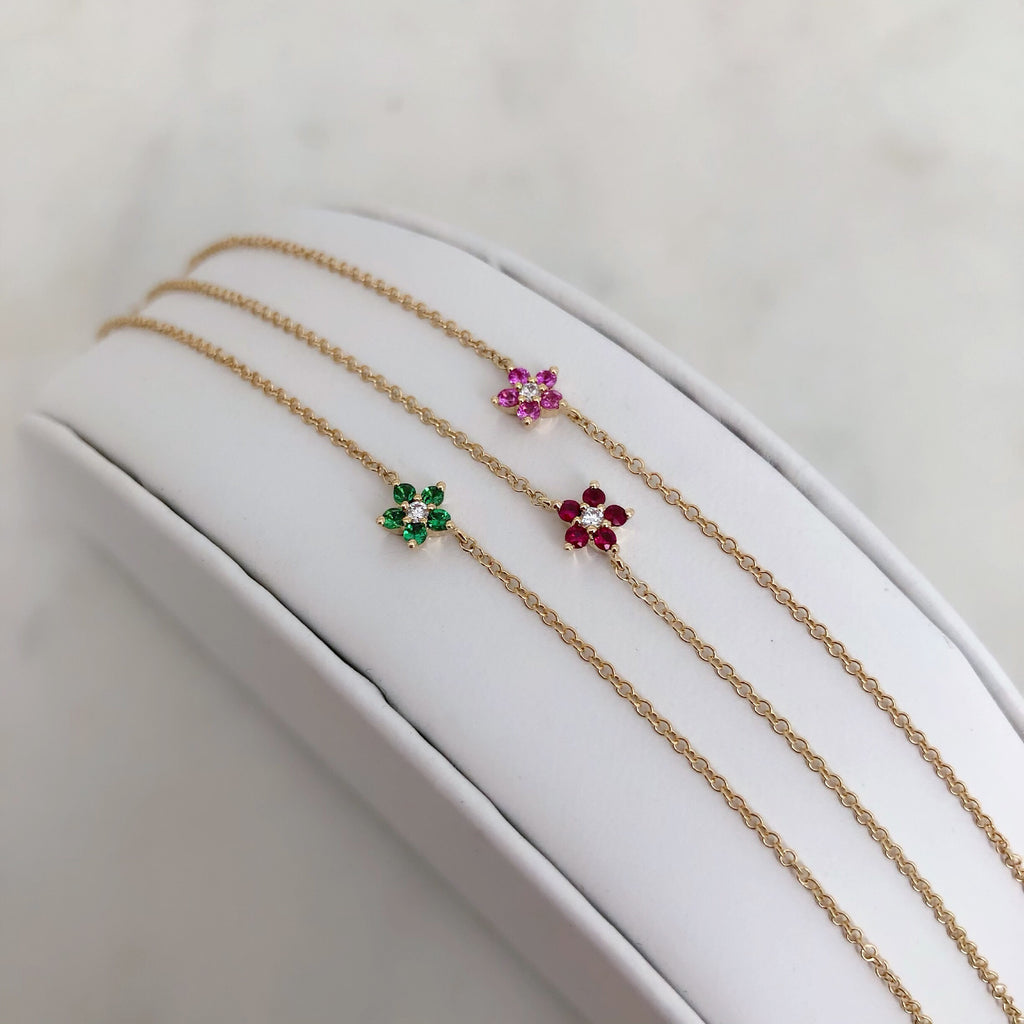 14K GEMSTONE BLOSSOMS