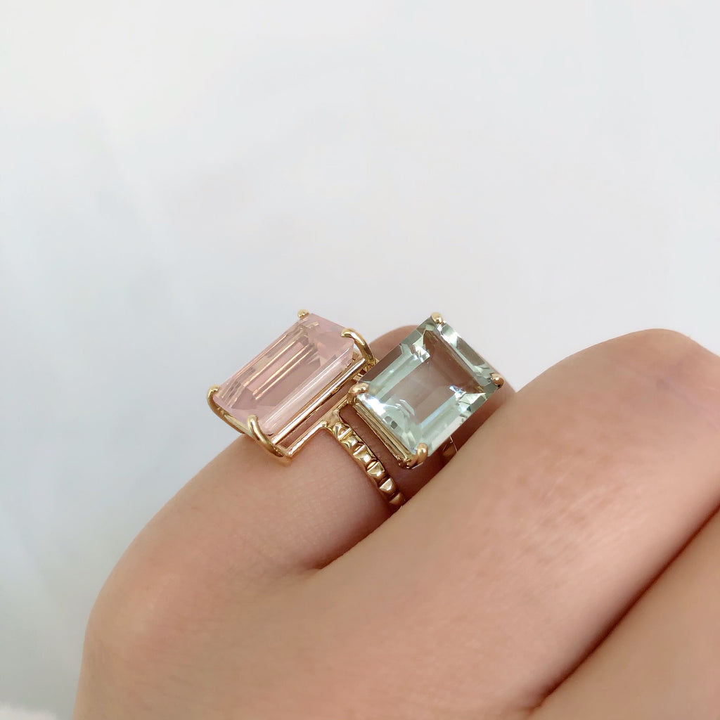 14K GEMSTONE DREAM RING (EMERALD SHAPE)