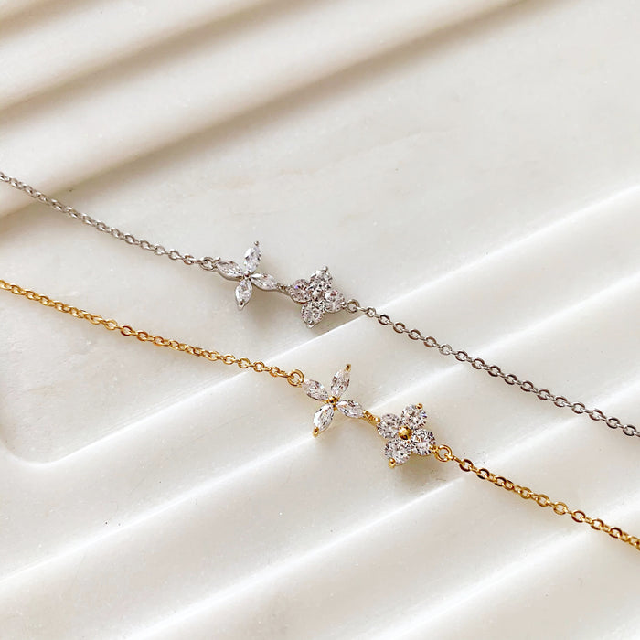 CRYSTAL FLOWERS BRACELET (14K GOLD FILLED OR STERLING SILVER)
