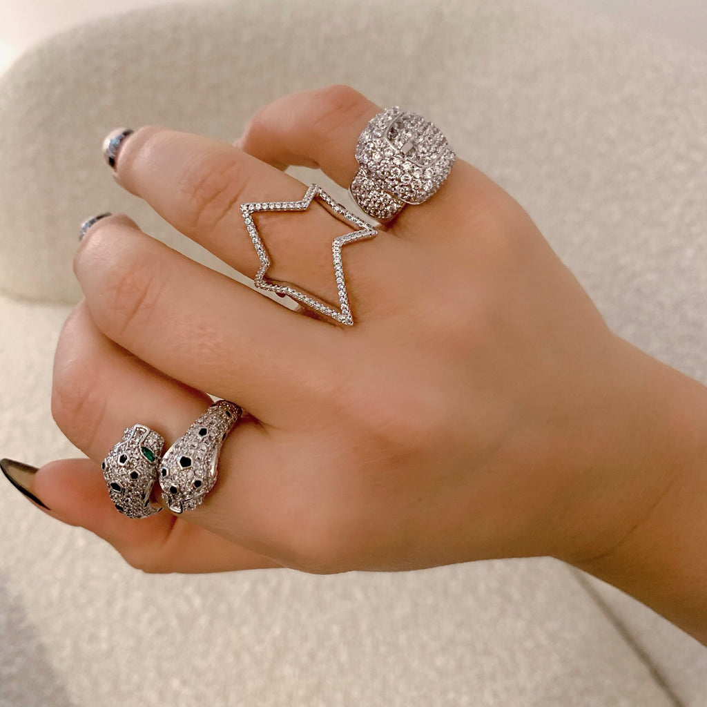 OPEN STAR RING (925 STERLING SILVER)