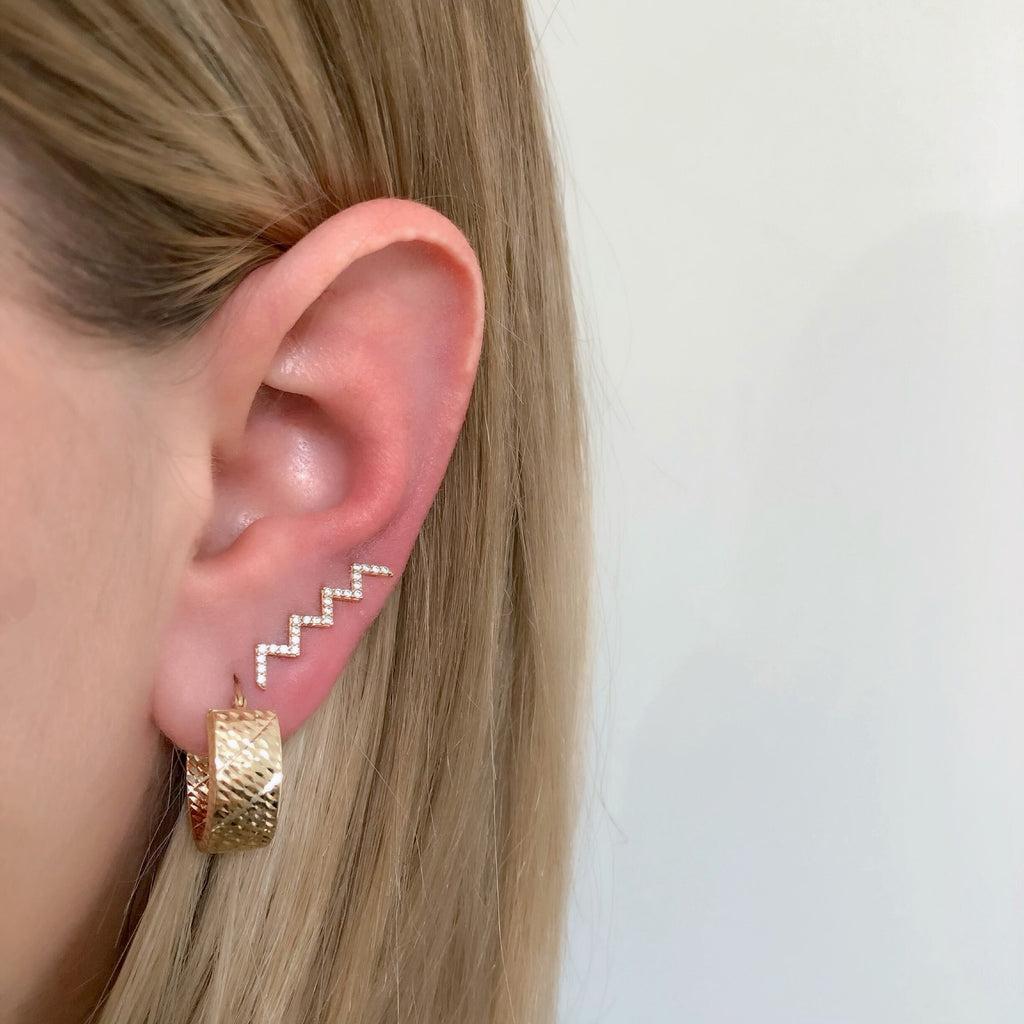 14K GLITTER CRUSH HOOPS