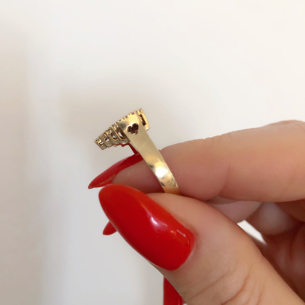 14K PIXELATED HEART RING