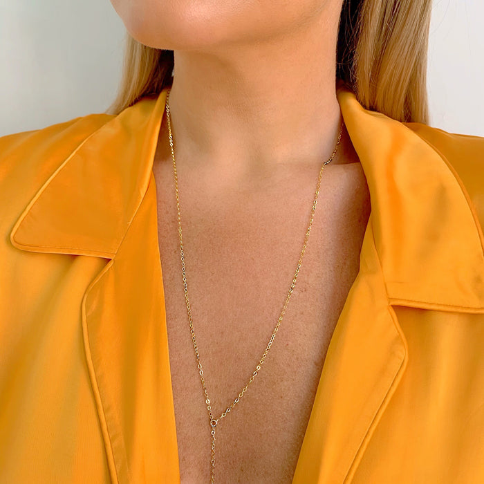 GLITTER FILTER LARIAT (14K GOLD FILLED OR STERLING SILVER)