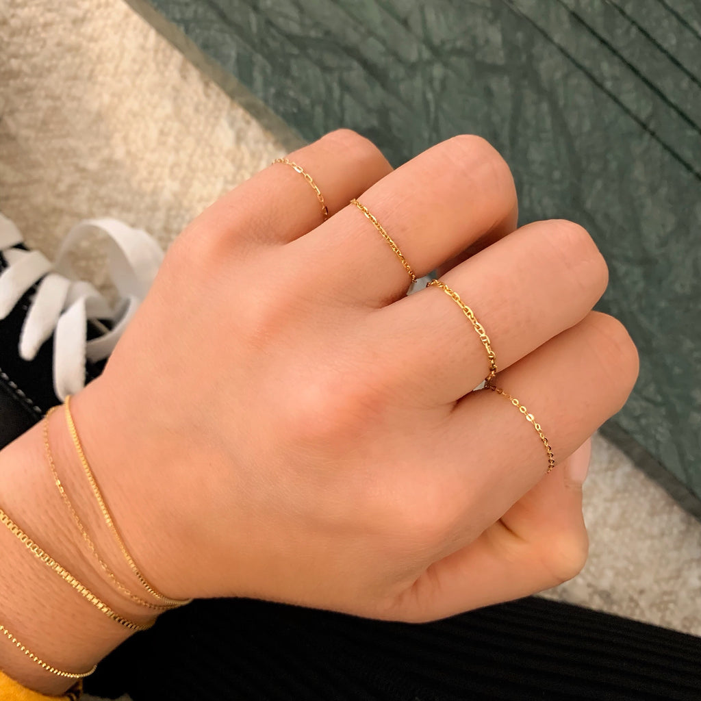 14K STACKING CHAIN RINGS