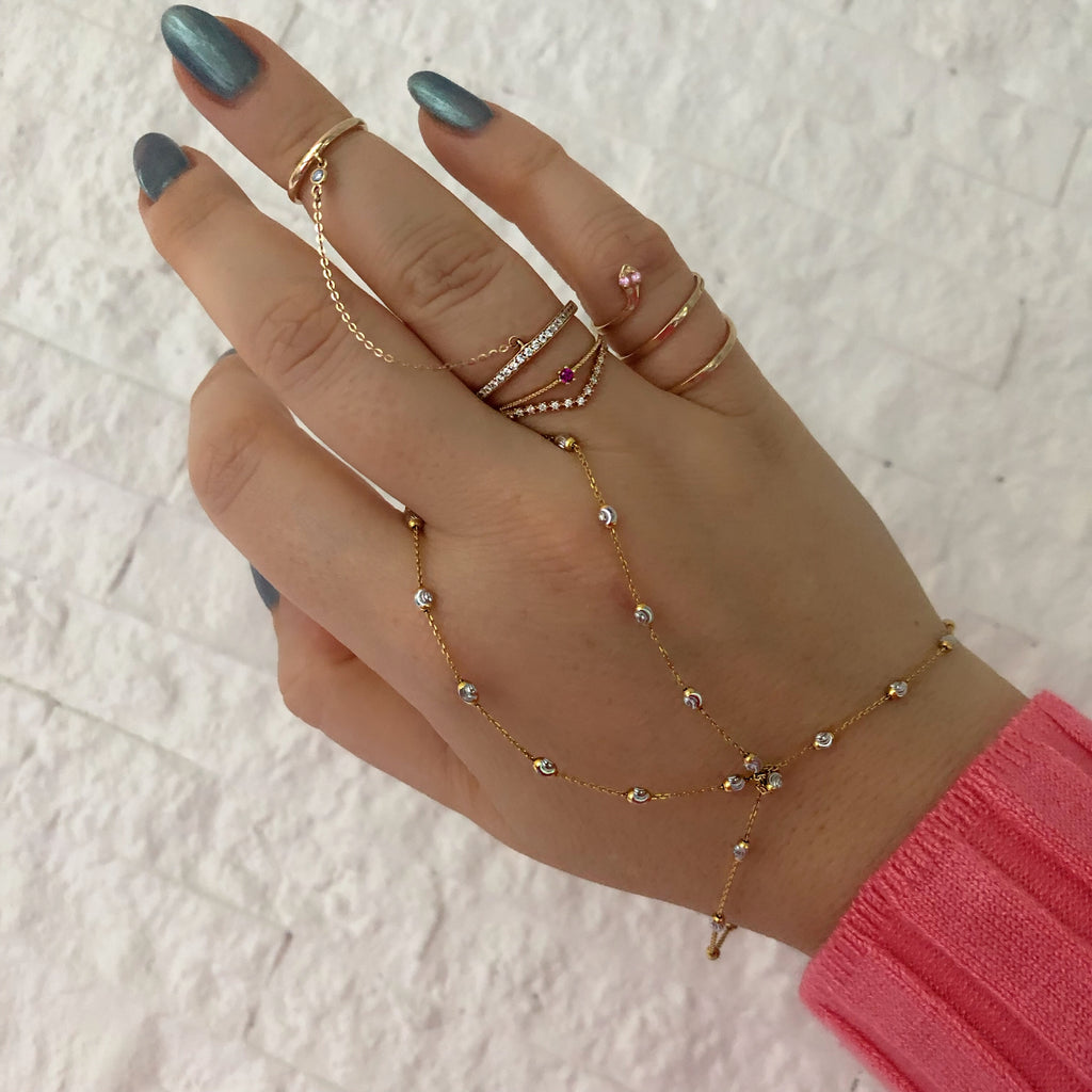 14K FINGER CHAIN STACK