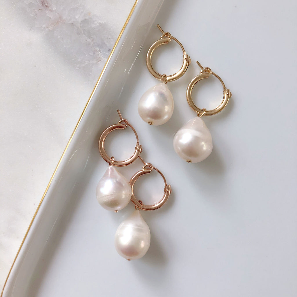 GUMDROP PEARL EARRINGS SET (14K GOLD FILLED OR STERLING SILVER)