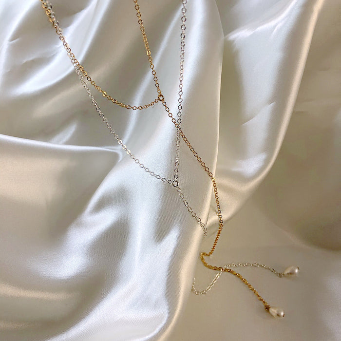 PEARL DROP LARIAT (14K GOLD FILLED OR STERLING SILVER)