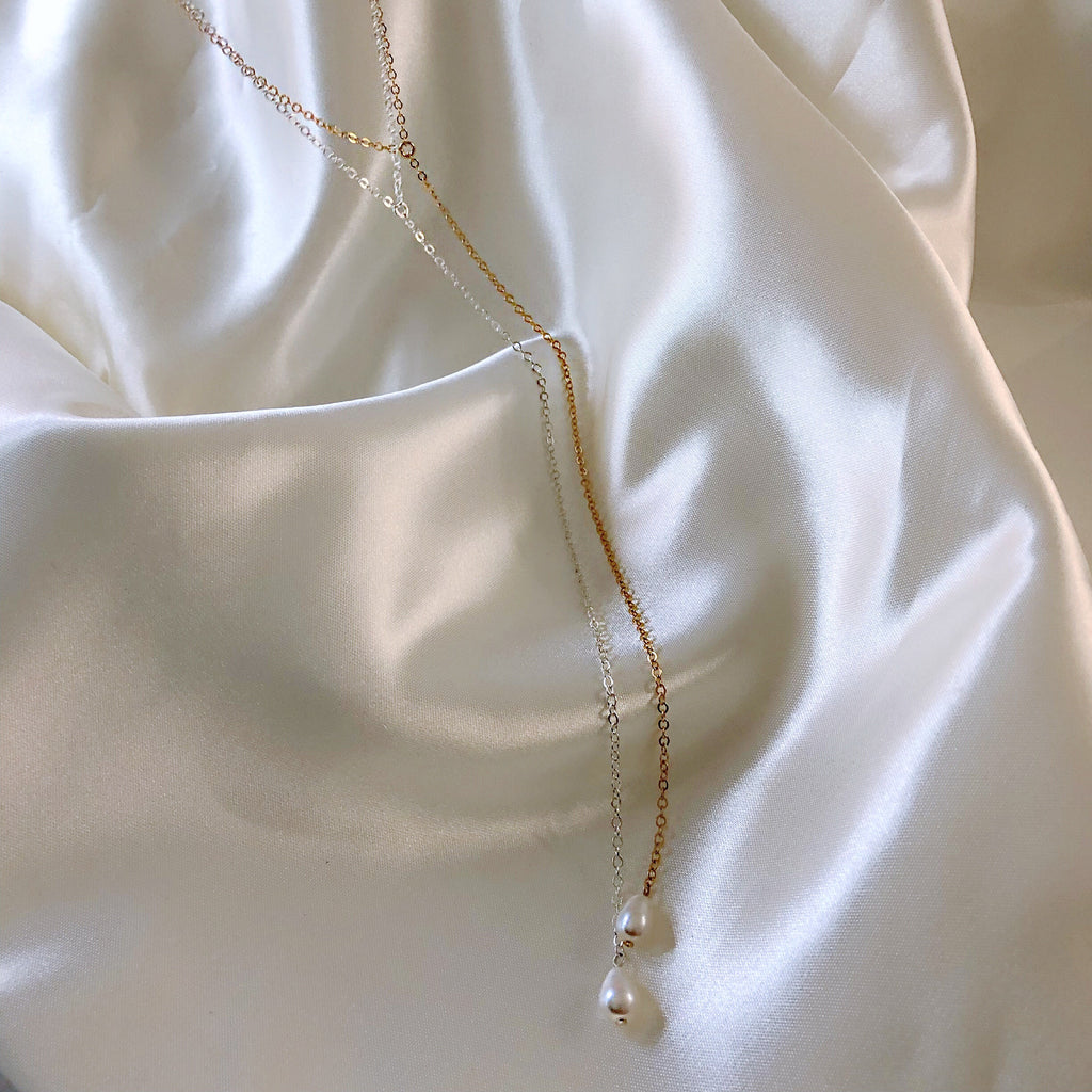 LINGERIE PEARL DROP LARIAT (14K GOLD FILLED OR STERLING SILVER)