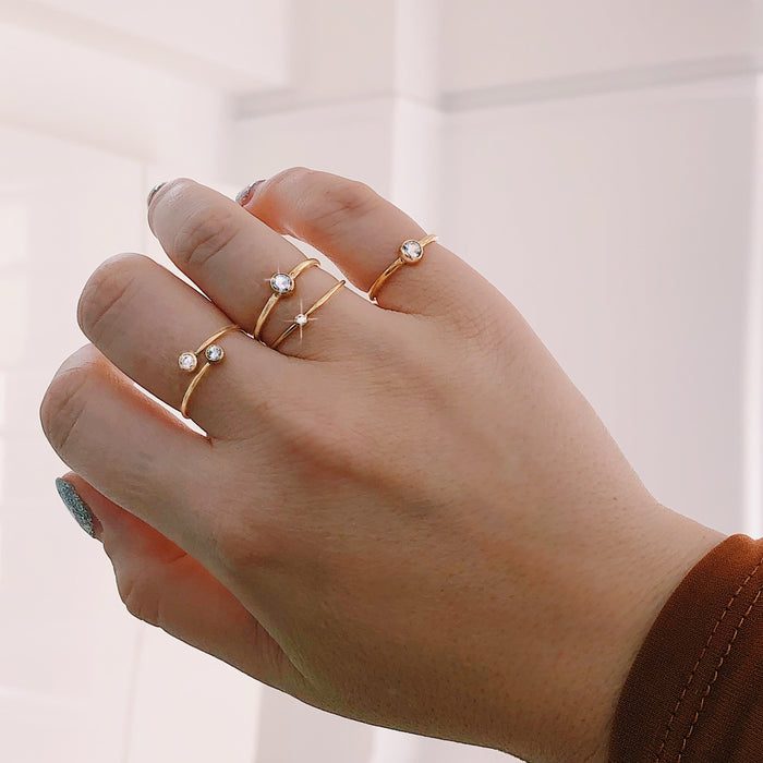 STACKABLE BEZEL CRYSTAL RINGS (14K GOLD FILLED OR STERLING SILVER)