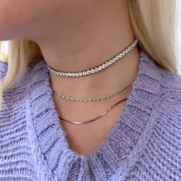 DIAMOND BAND CHOKER (925 STERLING SILVER)